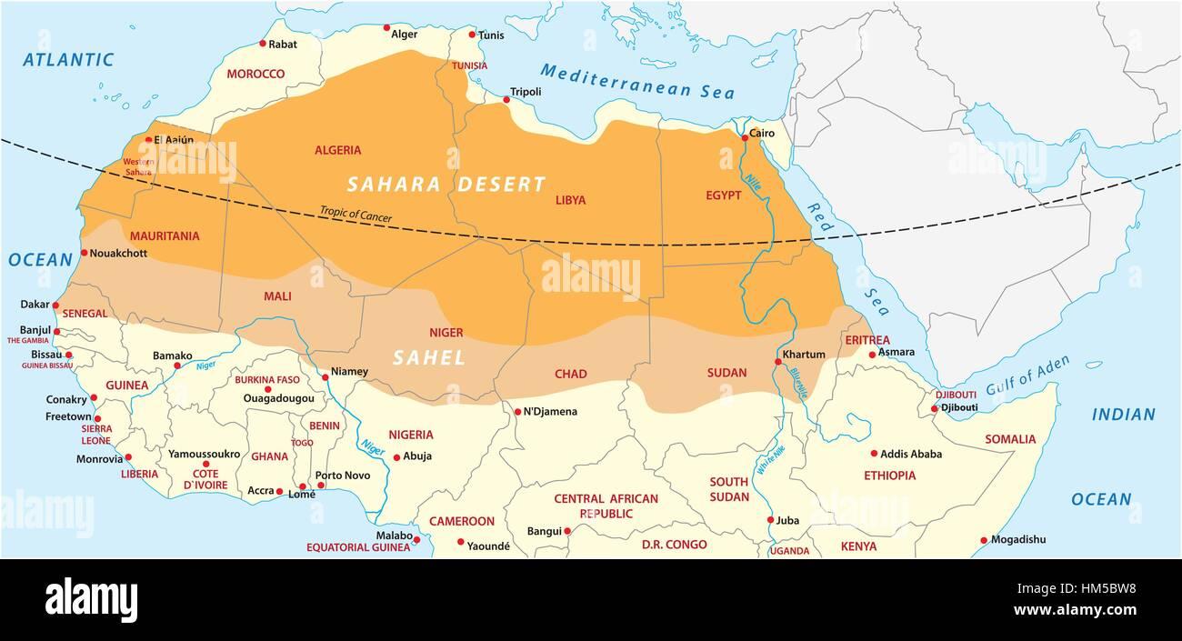 Desierto Del Sahara Mapa.Mapa De Vectores Del Desierto Del Sahara Y Sahel Ilustracion