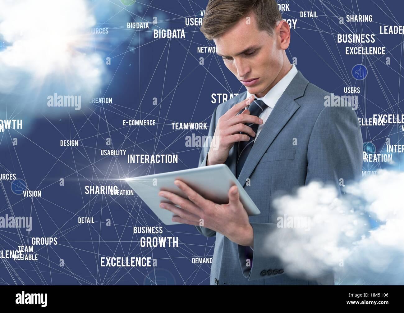 Empresario utilizando tablet digital con iconos de conexión contra el fondo azul con nubes Foto de stock