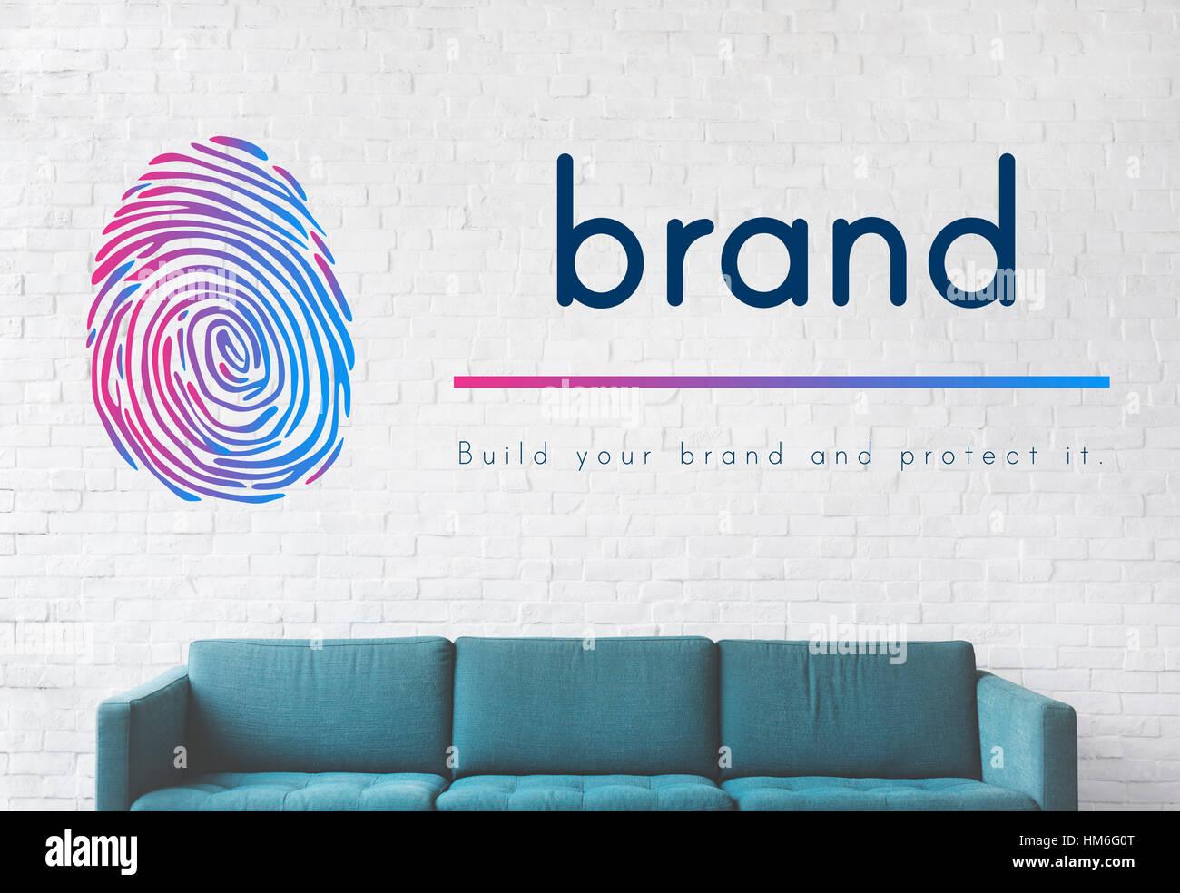 Diseño de Logotipo patente Concepto de huella dactilar Foto de stock