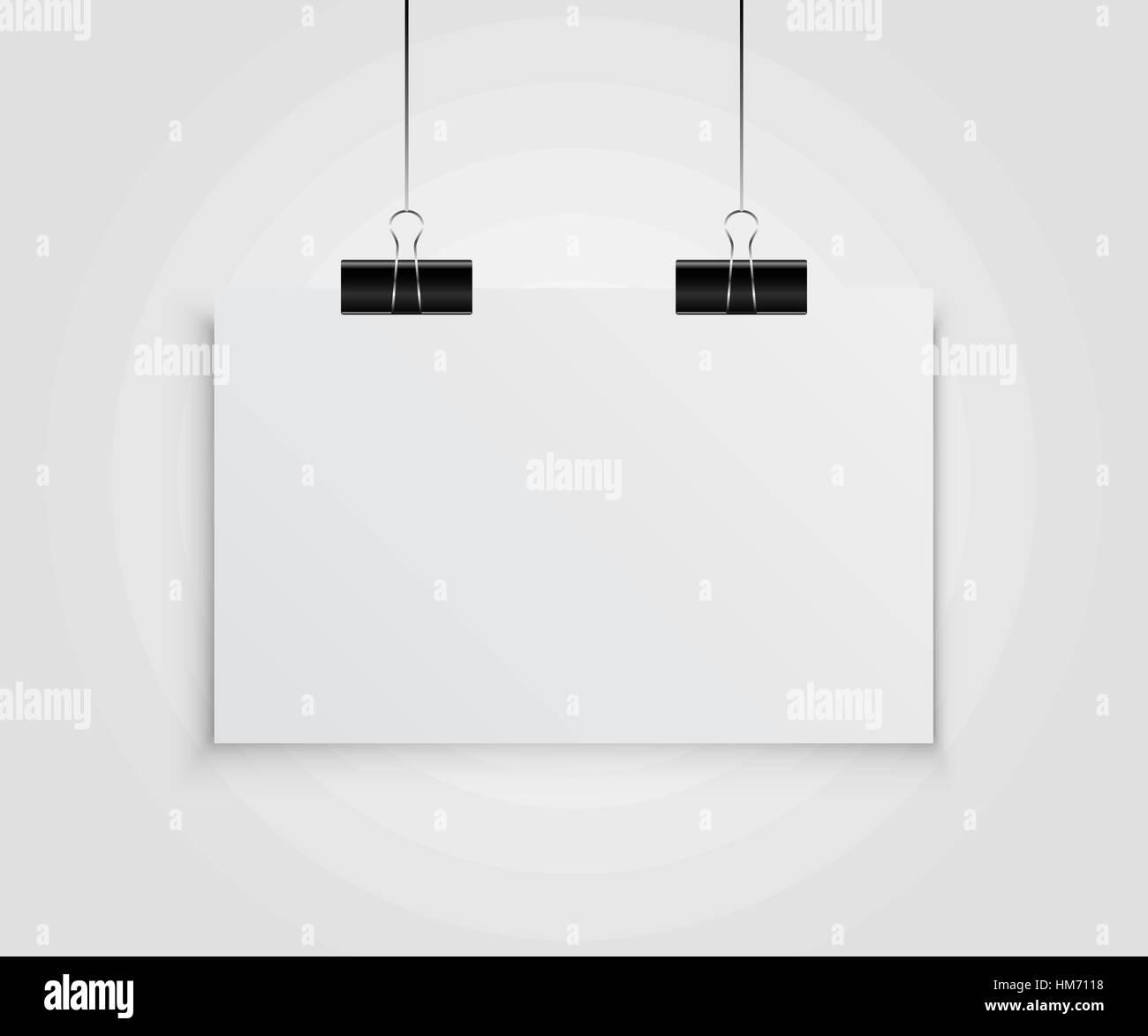 Papel colgando un póster en el poster. Ilustración vectorial Imagen De Stock