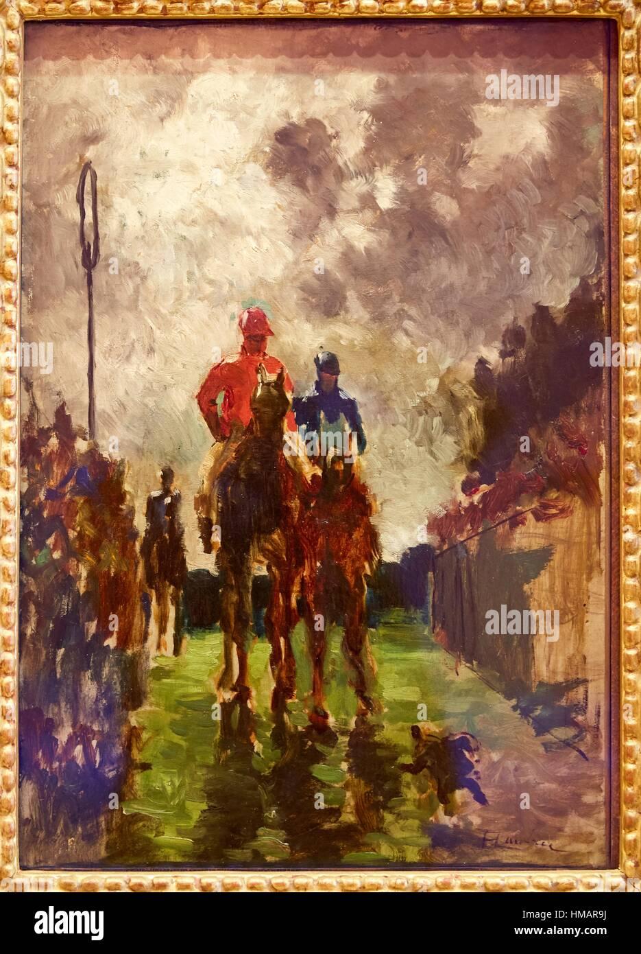 '''Los Jinetes'',1882, Henri de Toulouse-Lautrec, Museo Thyssen-Bornemisza, Madrid, España Foto de stock