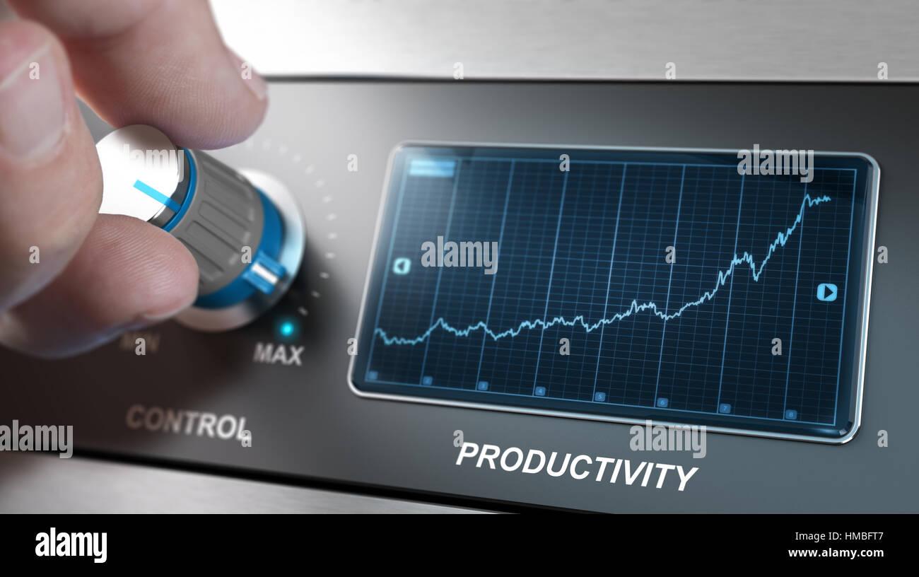Mano girando la perilla de control a la máxima velocidad para aumentar la productividad, el concepto de gestión Imagen De Stock