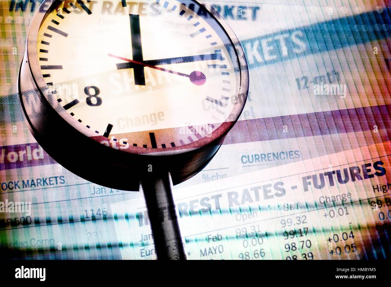 Mercado bursatil, bolsa de valores, tipo de mercado, la bolsa de valores. Foto de stock