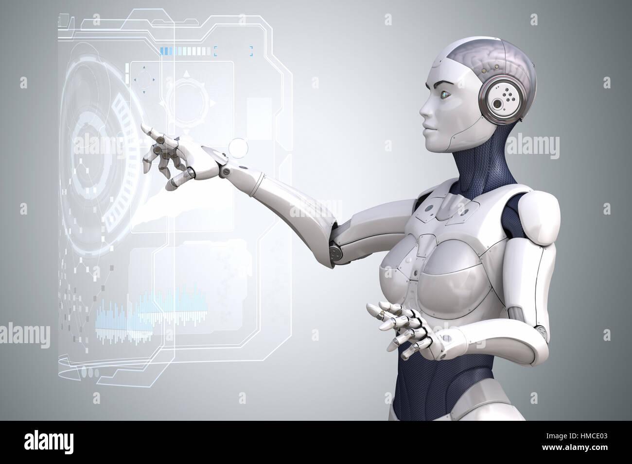 Robot está trabajando con pantalla táctil de Realidad Virtual. Ilustración 3D Imagen De Stock