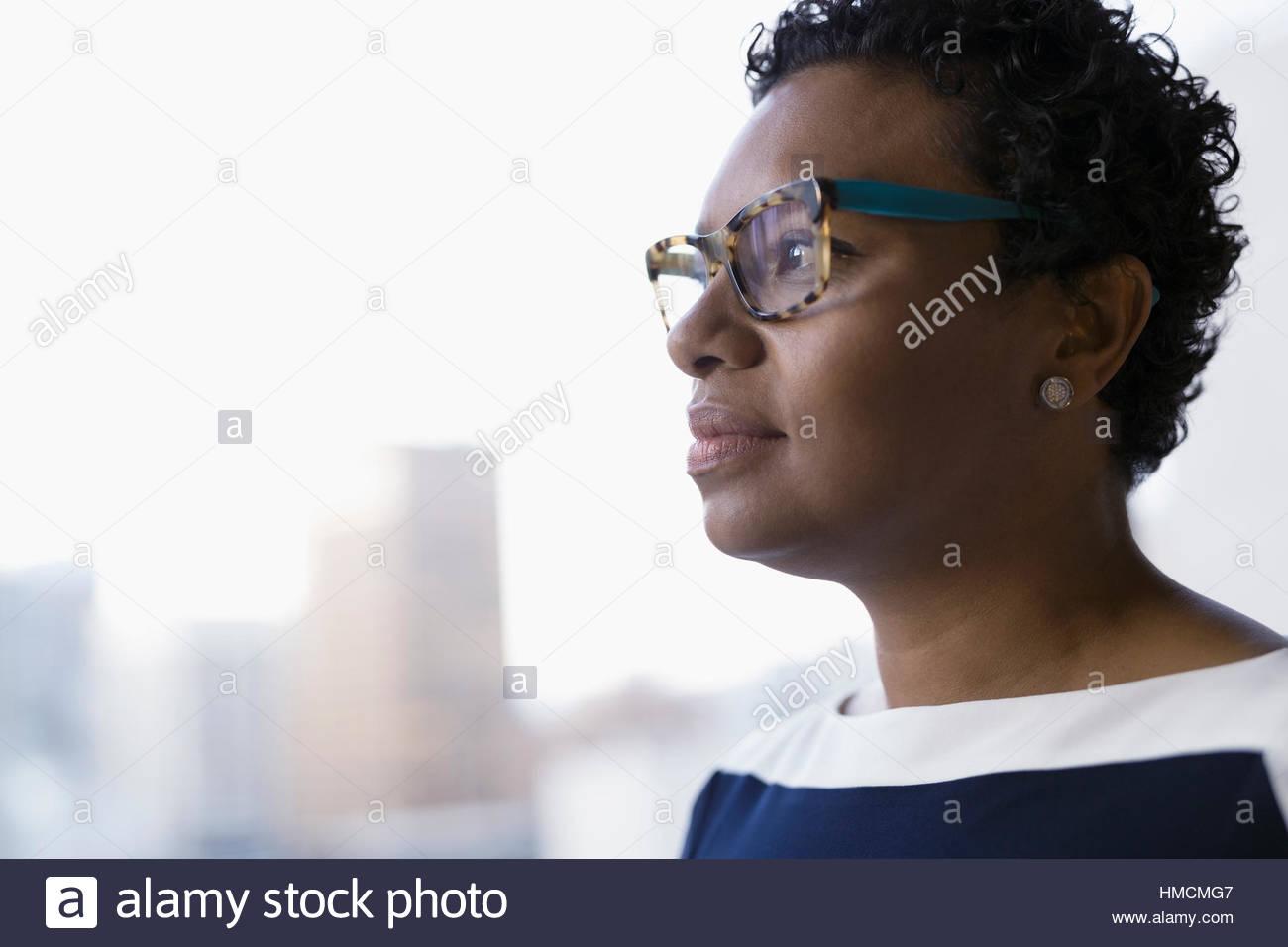 e84c4445d2 Business Women Eyeglasses Uncertainty Imágenes De Stock & Business ...