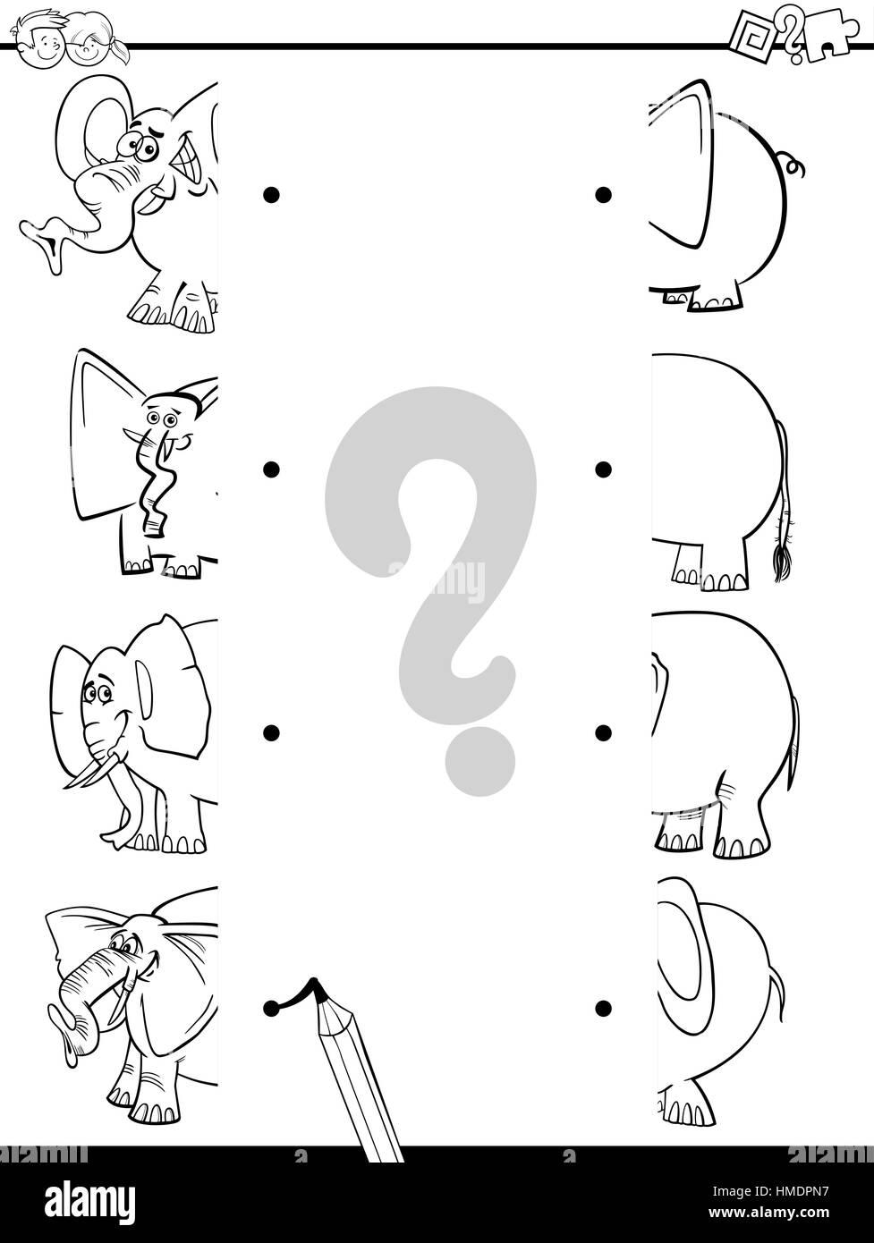 Ilustración Caricatura En Blanco Y Negro De Juego Educativo