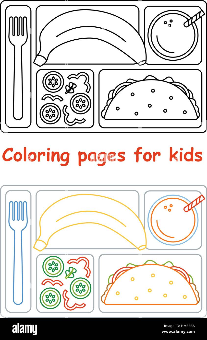 Coloring Pages Kids Lunch Tray Imágenes De Stock & Coloring Pages ...