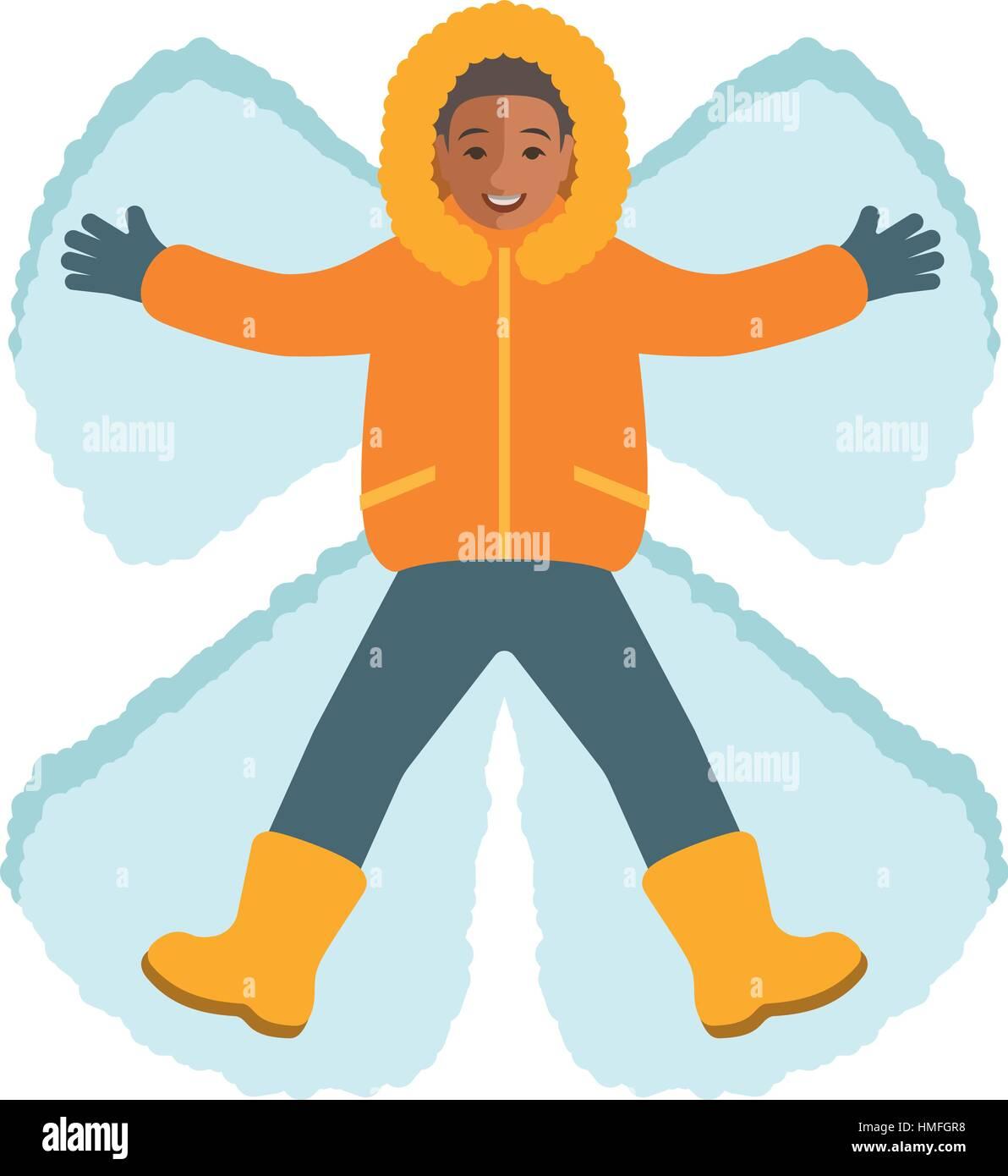Niño Africano En Ropa De Invierno Haciendo Un ángel De Nieve Vista
