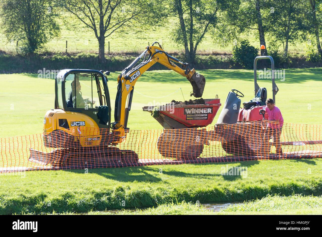 Miniexcavadora JCB descarta la tierra en saltar dumper, el verde, Abinger Hammer, Surrey, Inglaterra, Reino Unido Imagen De Stock