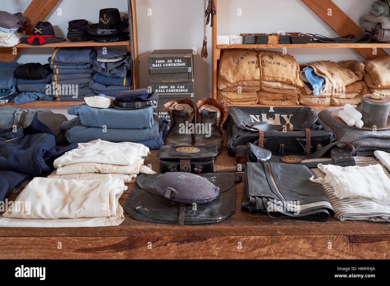 Exposición de la época de la Guerra Civil suministros militares del Ejército de la Unión, Ft Imagen De Stock