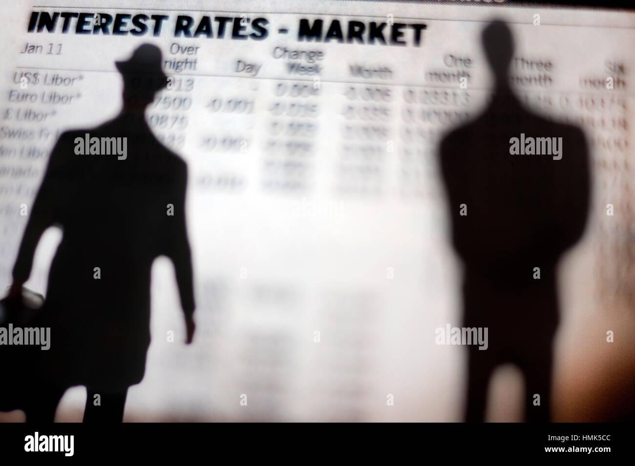 Las tasas de interés, el mercado, intereses, mercado. Foto de stock
