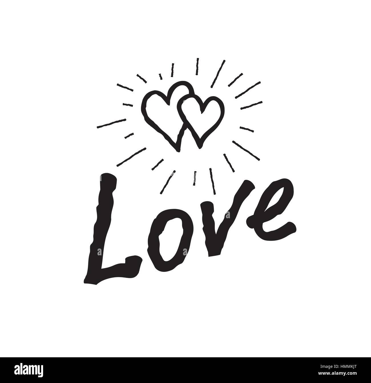 Doodle Amor Corazones Con Letras Manuscritas Amor Blanco Y Negro
