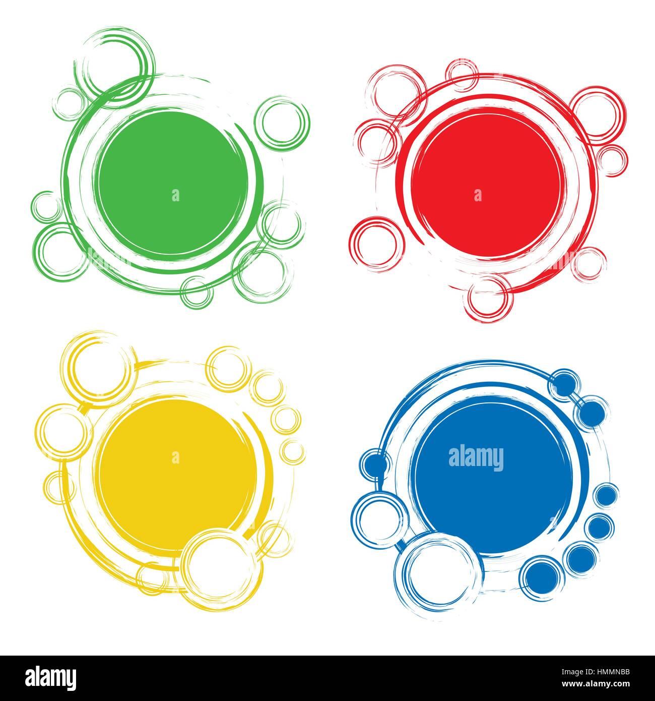 Conjunto de placas con coloridos círculos abstractos. Un círculo ...