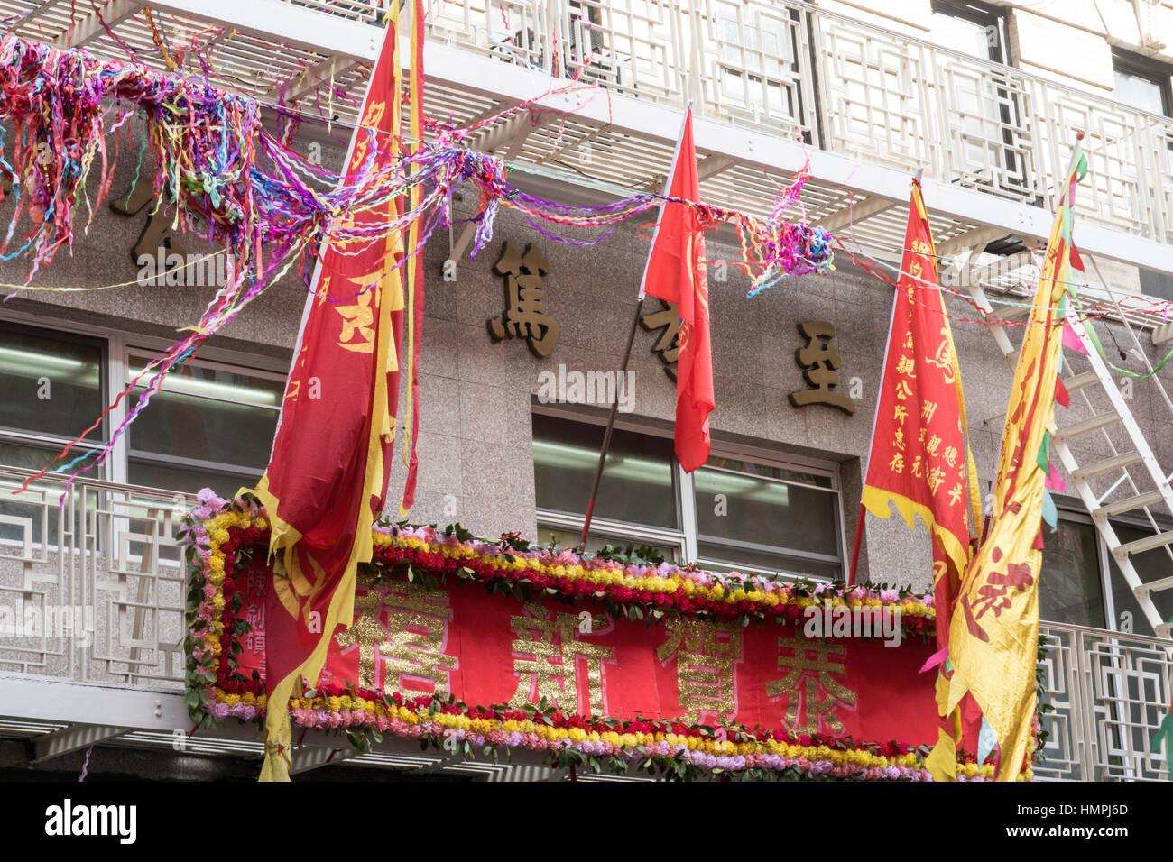 Pancartas y banderas, Chinatown, NUEVA YORK, EE.UU. Foto de stock