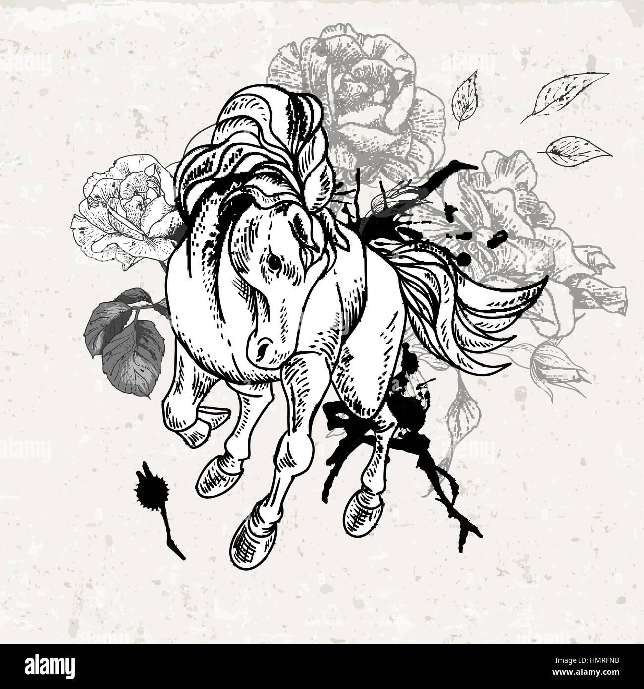 Blanco Y Negro Dibujado A Mano Boceto De Caballo Con Flores Vintage