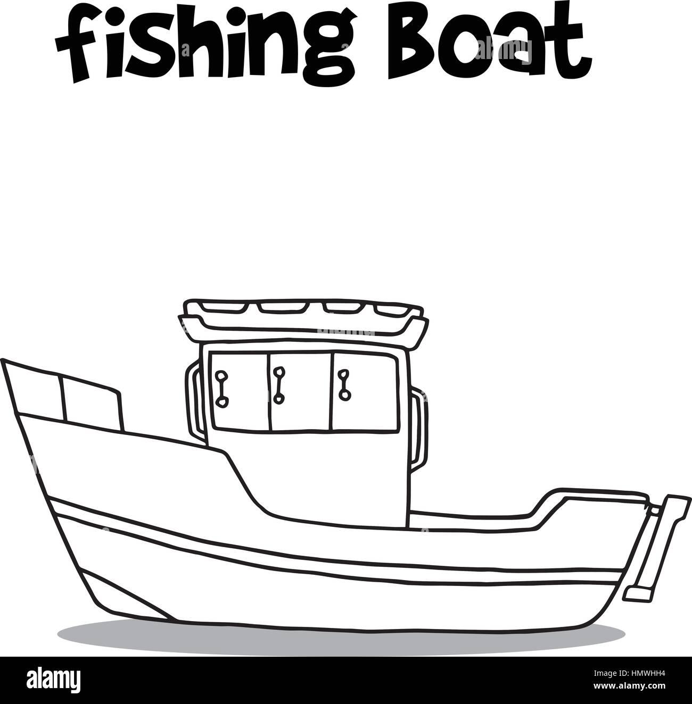 Transporte De Barco Pesquero Dibujar A Mano Ilustración Del Vector