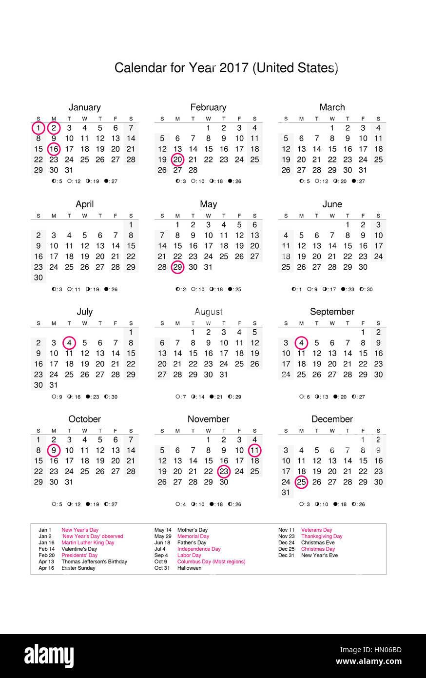 Calendario Del Ano 2017 Con Los Feriados Y Dias Festivos De Estados Unidos Fotografia De Stock Alamy