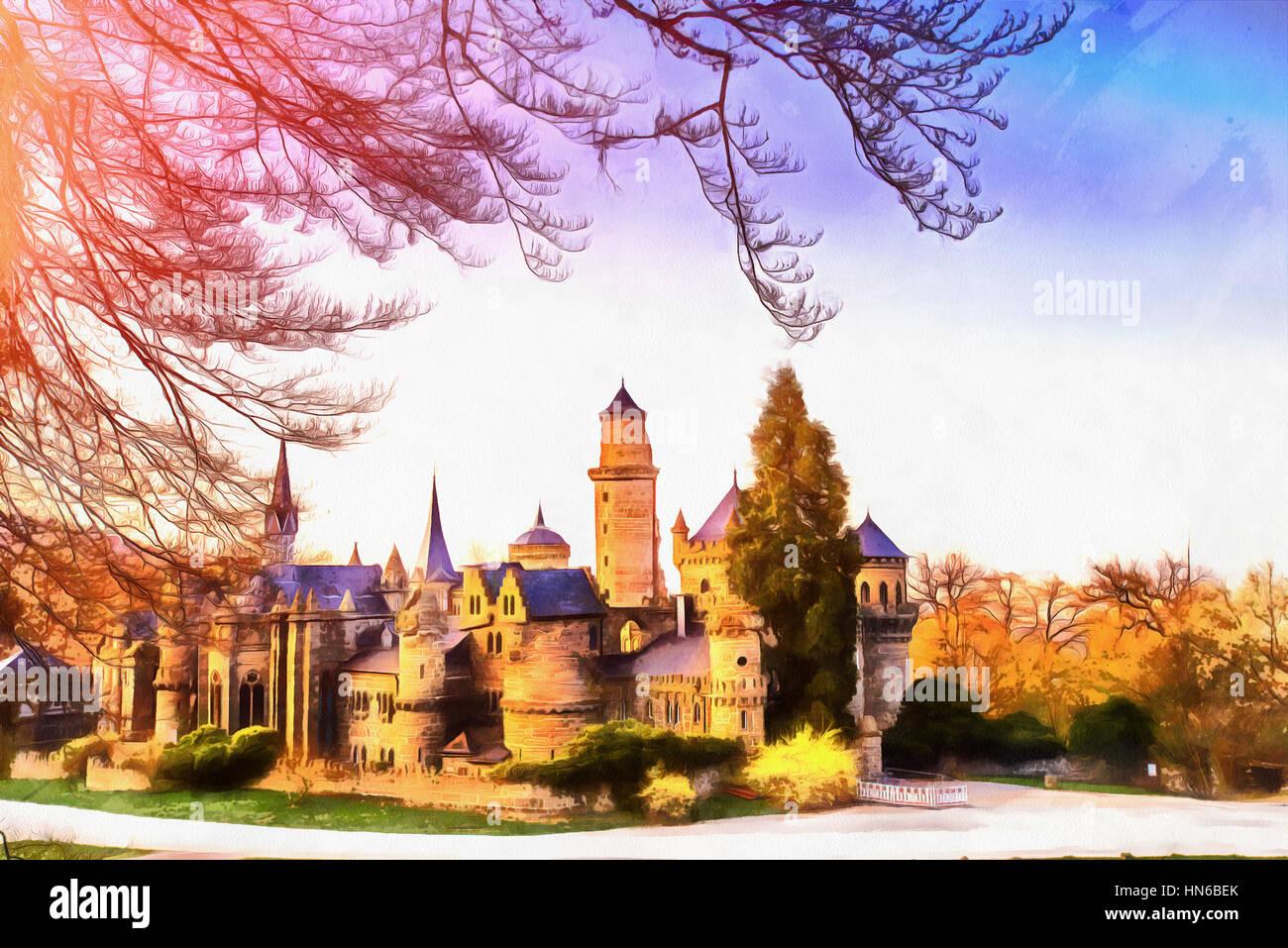 Antiguo castillo. Las obras en el estilo de la pintura con acuarela Imagen De Stock