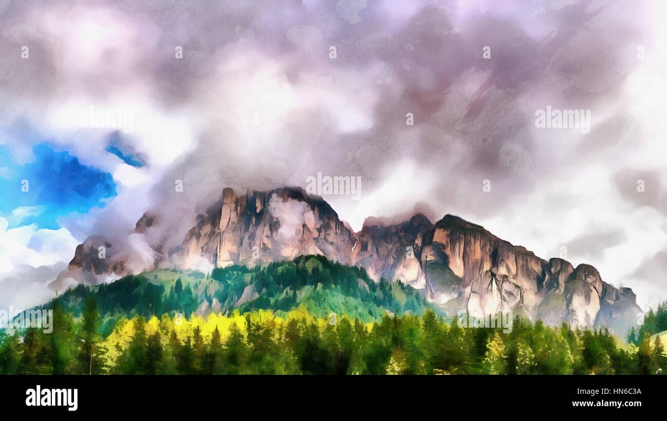 Las obras en el estilo de la pintura con acuarela. Montaña en el c Imagen De Stock