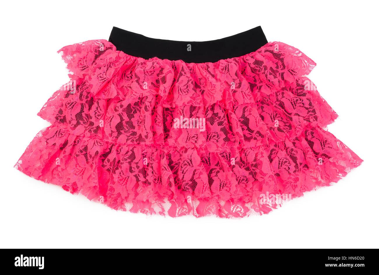 comprar baratas nuevo alto variedades anchas Falda de encaje rosa para bailar aislado sobre fondo blanco ...