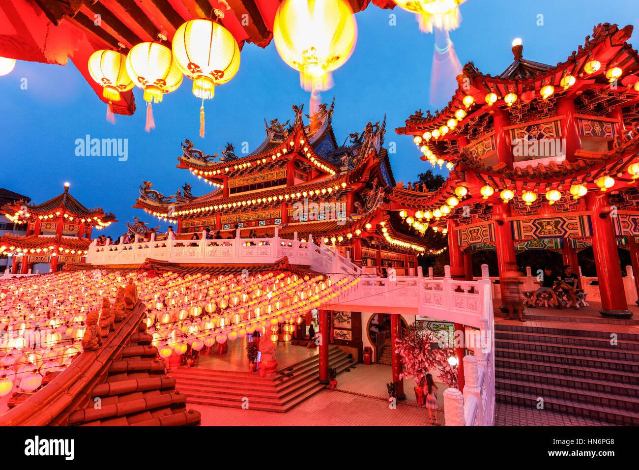 Los farolillos rojos de Thean Hou Temple, Malasia, durante el Año Nuevo Lunar chino. Foto de stock