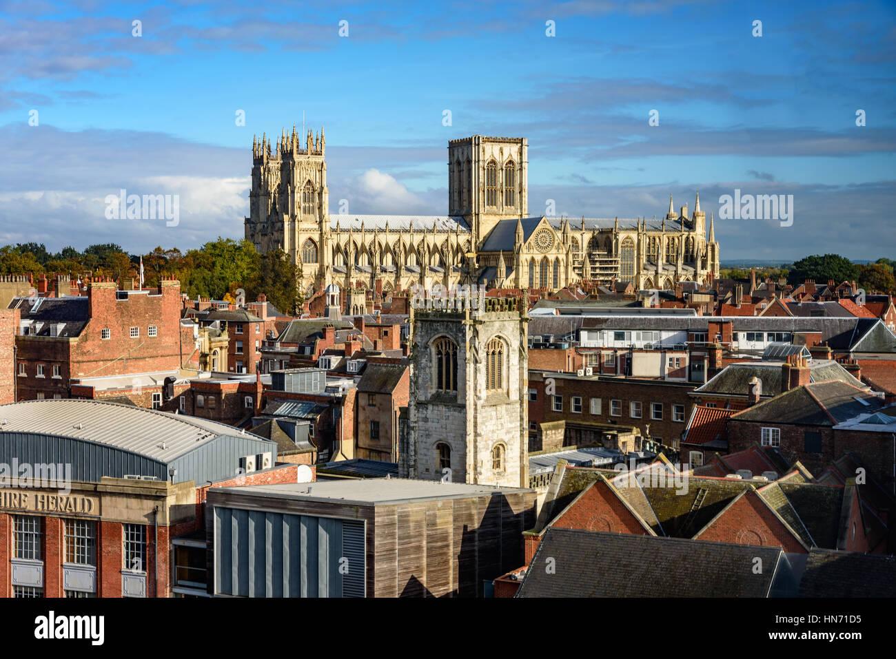 La Catedral y la iglesia de San Pedro Metropolitical en York, comúnmente conocida como la Catedral de York Imagen De Stock