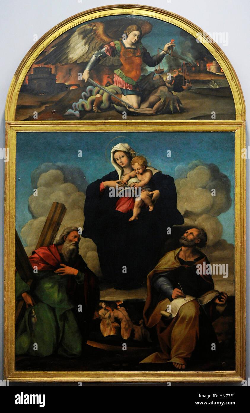 Marco Cardisco (1486-1542). Painer italiano. Virgen con marcar el Evangeliest y Andrés apóstol, 1527-30. Oleo sobre madera. Museo de Capodimonte. Nápoles. Italia. Foto de stock