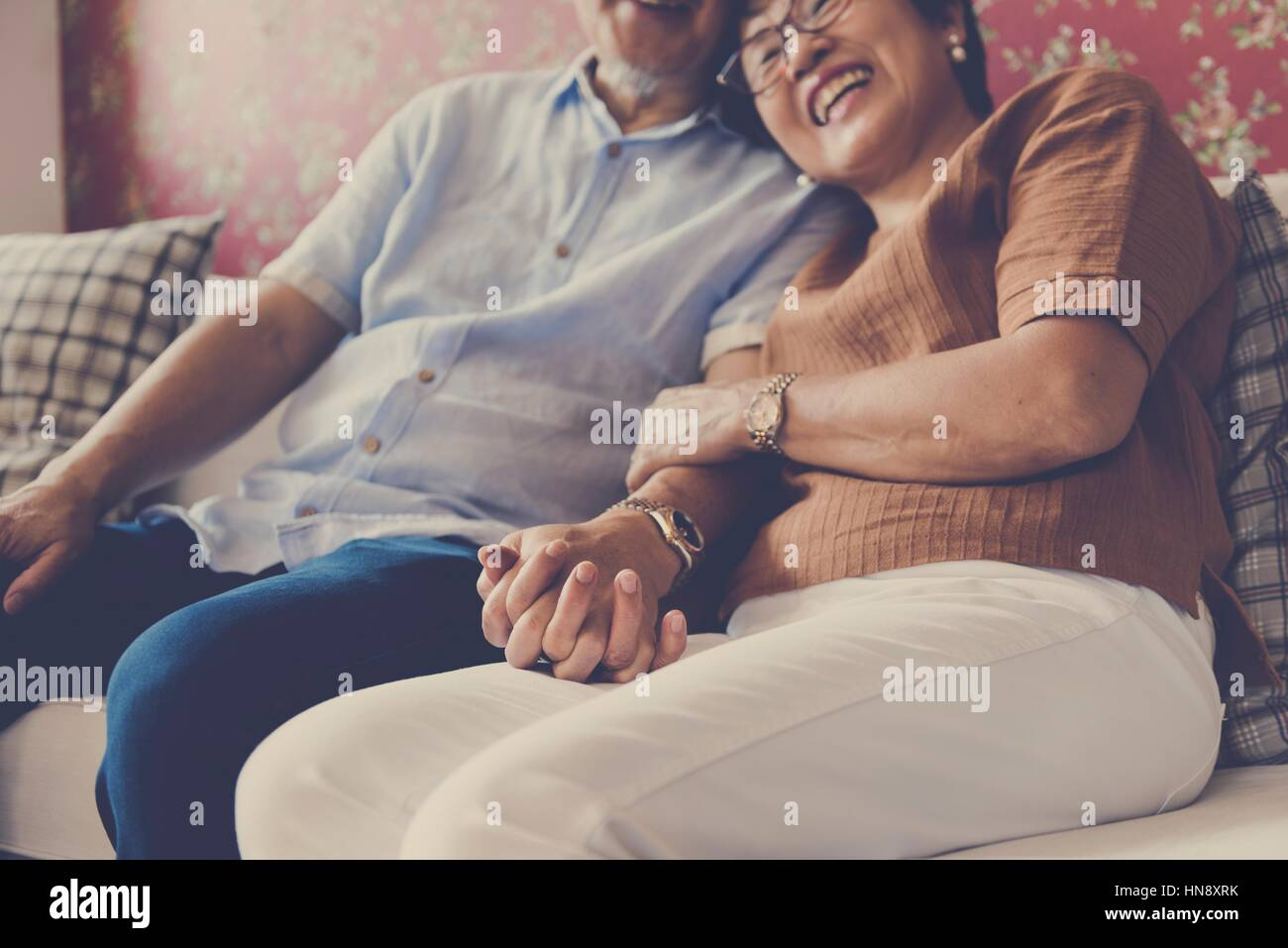 Pegado de la familia afecto Relación Casual Imagen De Stock