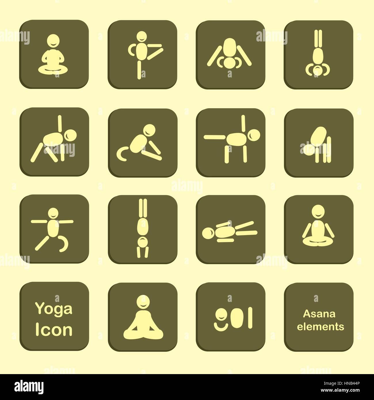 Ilustración del Vector. Ampliar. Conjunto de iconos. Plantea las asanas de  yoga. Vector. cee6b1bfd2f2