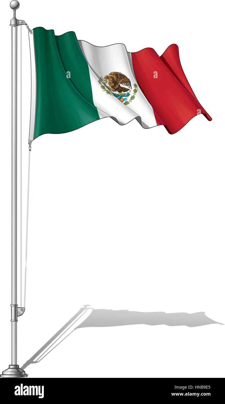 Ilustración Vectorial De Una Ondulante Bandera Mexicana