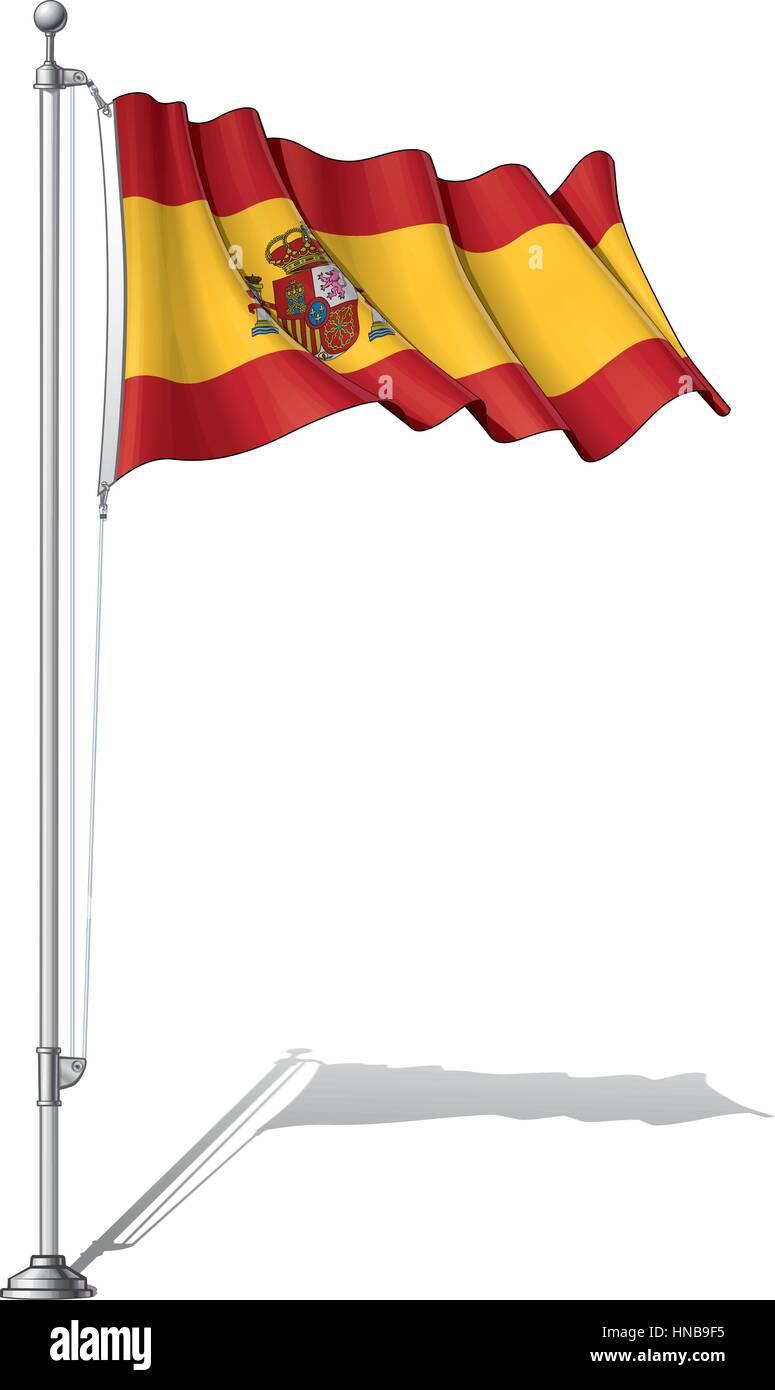 Ilustración Vectorial De Una Ondulante Bandera Española