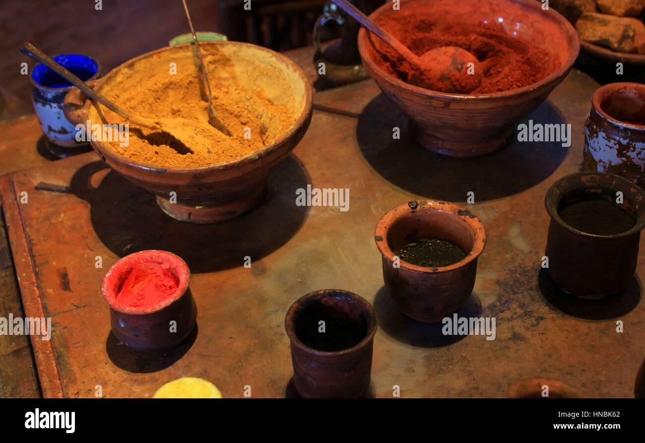 Los pigmentos en la Casa de Rembrandt Imagen De Stock