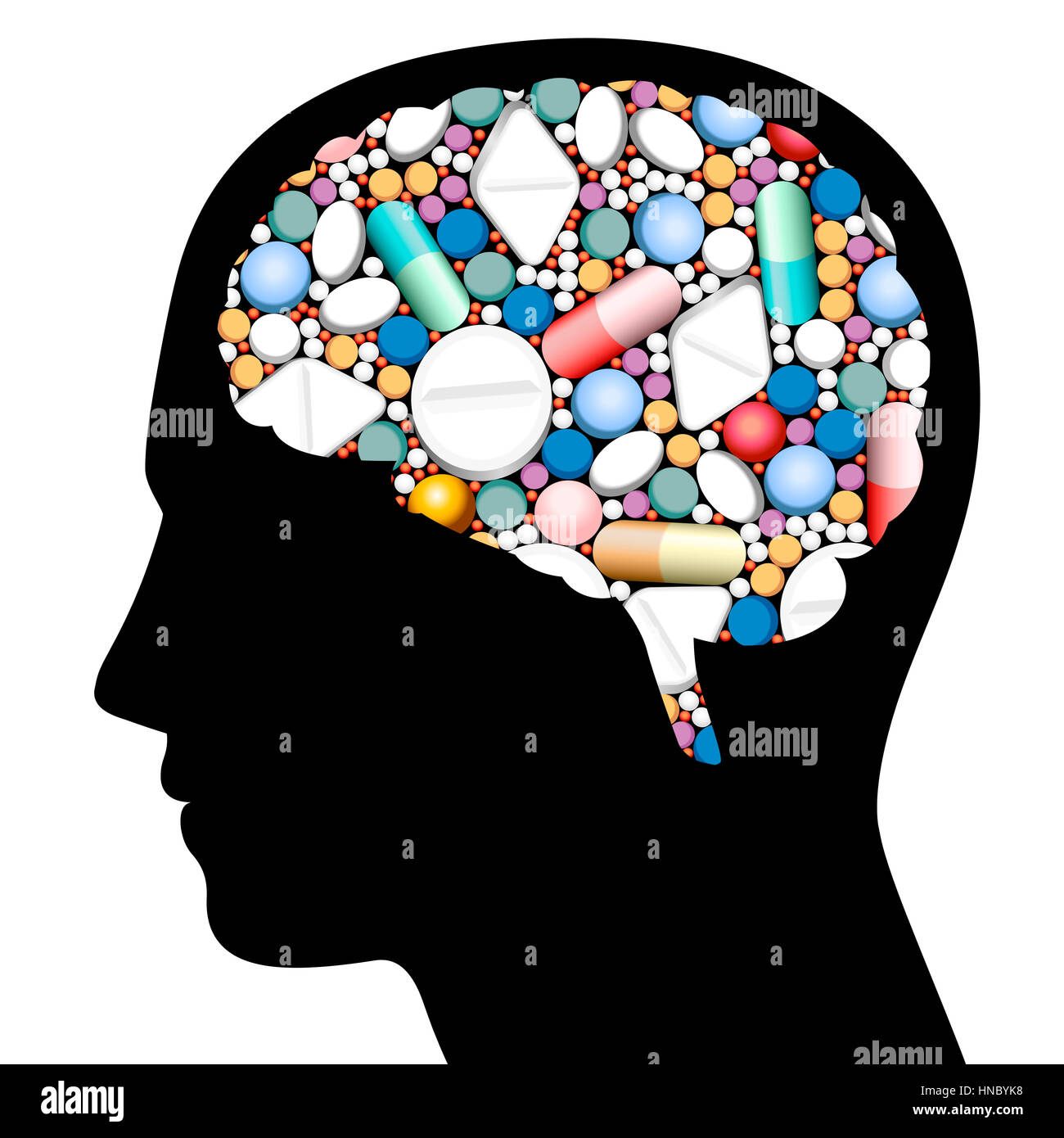 Pills cerebro jefe Foto de stock