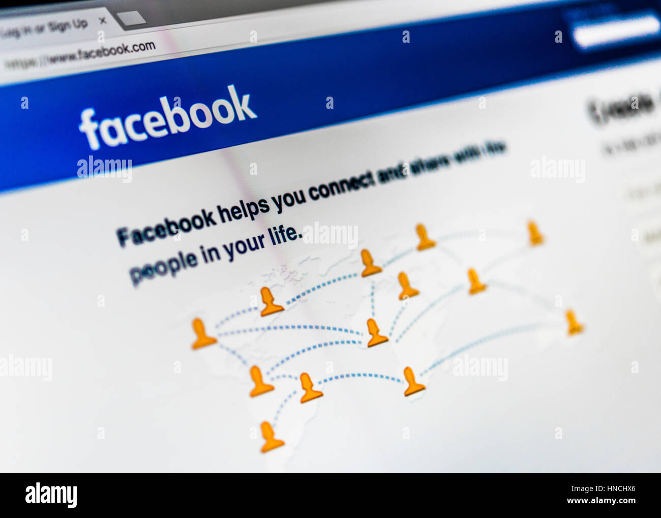 Facebook, Red Social, Home, Logo, Internet, captura de pantalla Imagen De Stock