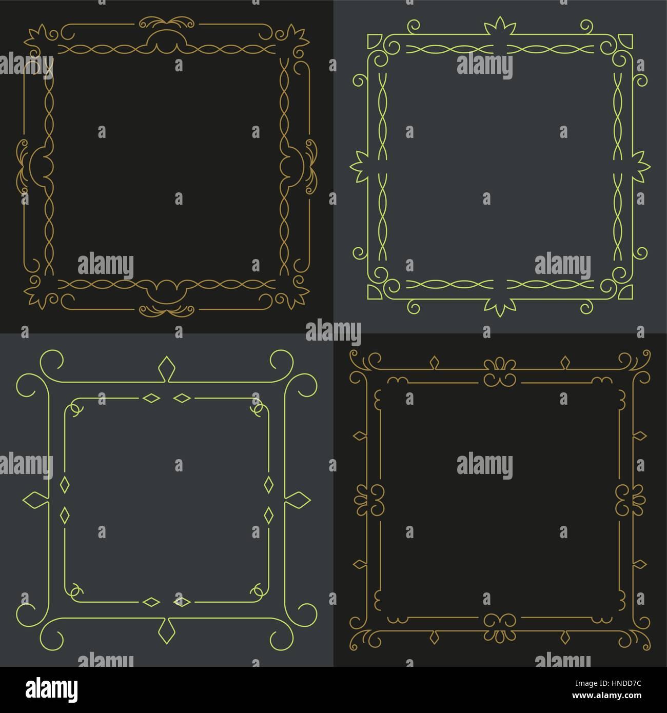Colección de cuatro elegante marco elegante con lugar para el texto ...