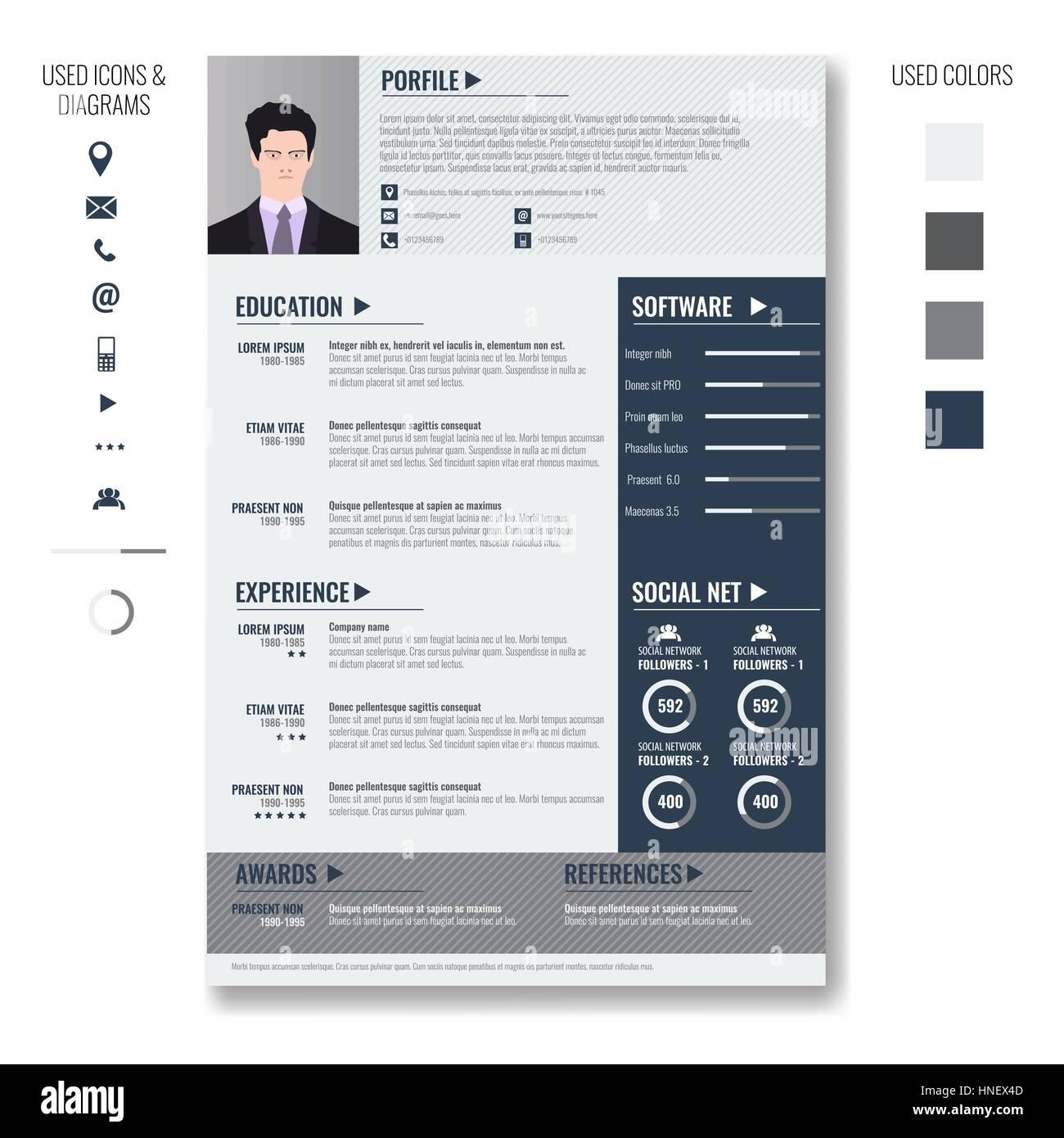 Vector creativo cv reanudar la plantilla minimalista con marco de ...