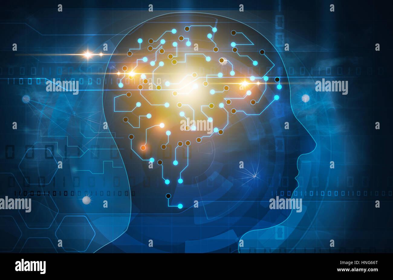 Cerebro Humano cabeza ilustración Imagen De Stock
