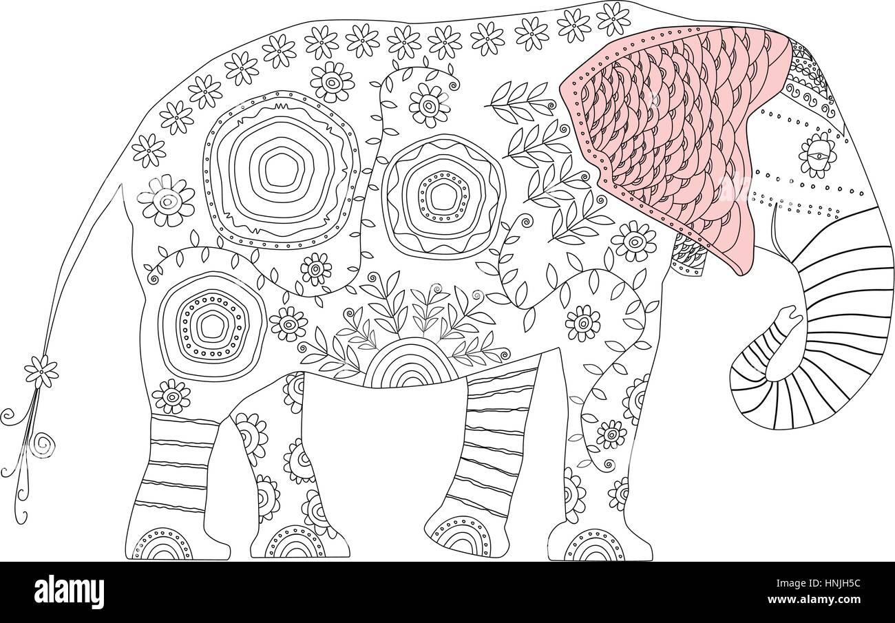 Elefante Decorativo Adulto Antiestrés Página Para Colorear La