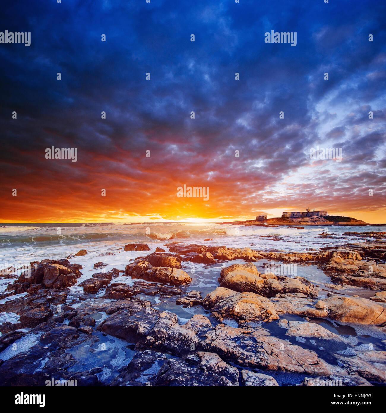 Fantásticas vistas de la reserva natural de Monte Cofano. Espectacular scen Imagen De Stock