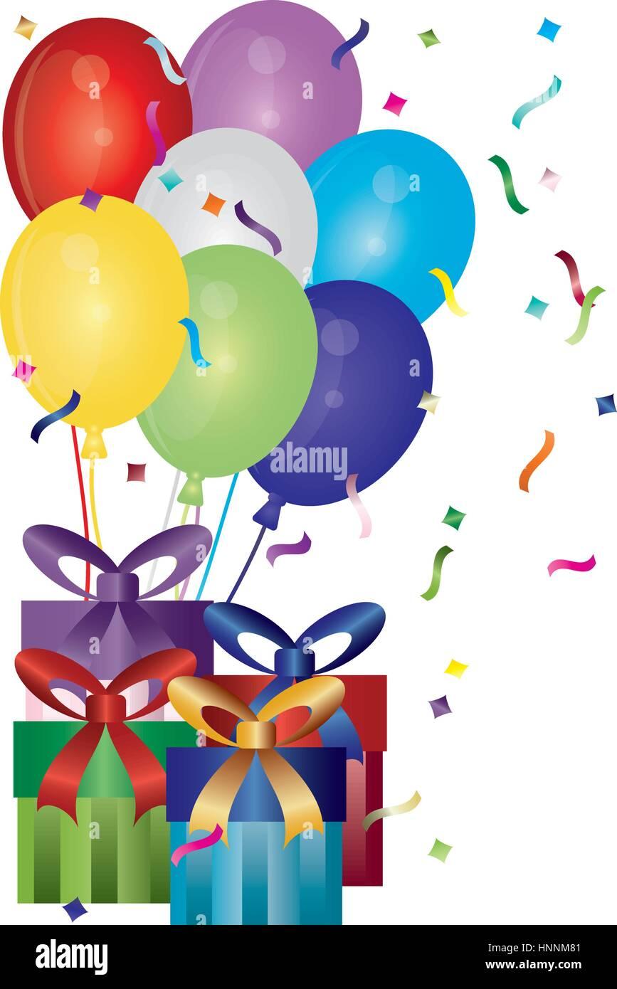 Feliz Cumpleaños Regalos Globos Y Confeti Ilustración Ilustración