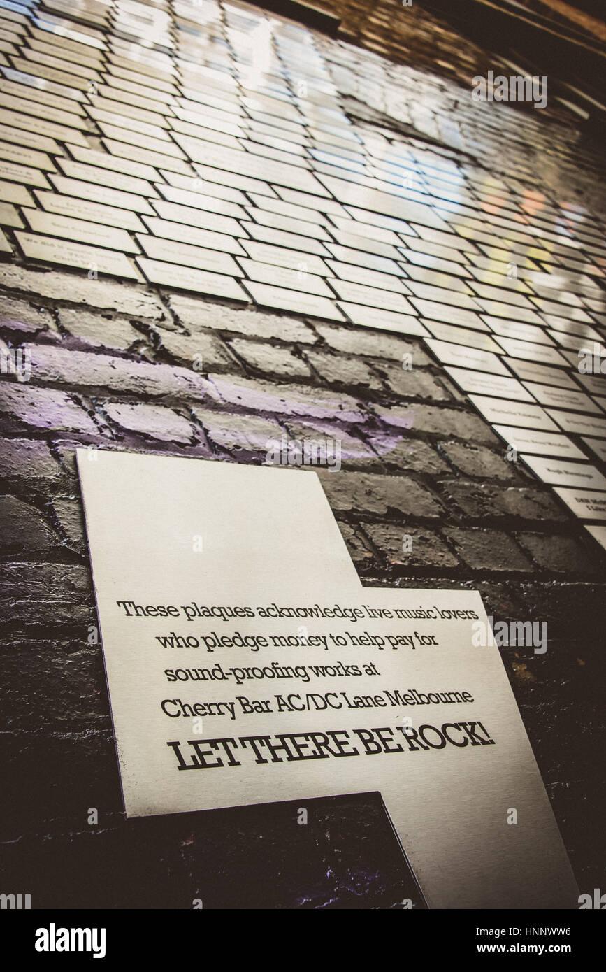No permitamos que el rock -Salvador placas, Melbourne. Imagen De Stock