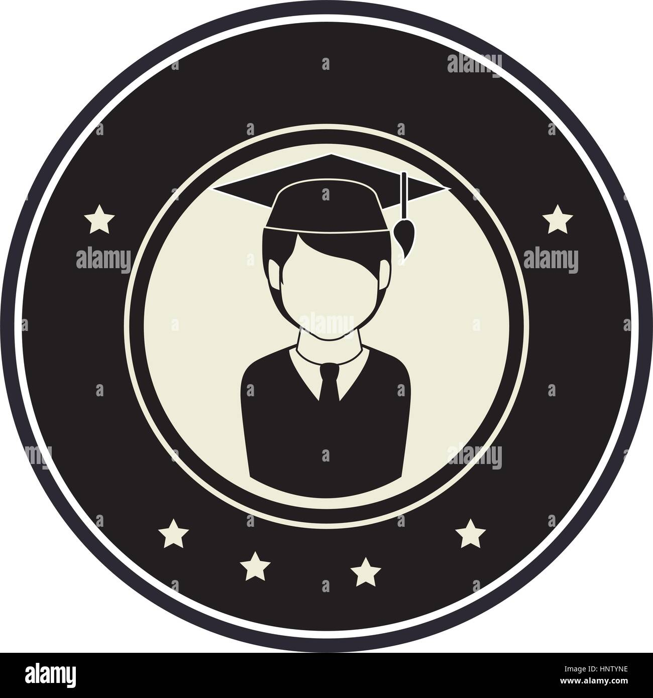 76d878ea5 Monocromo emblema circular con hombre de medio cuerpo con traje de graduación  ilustración vectorial Imagen De
