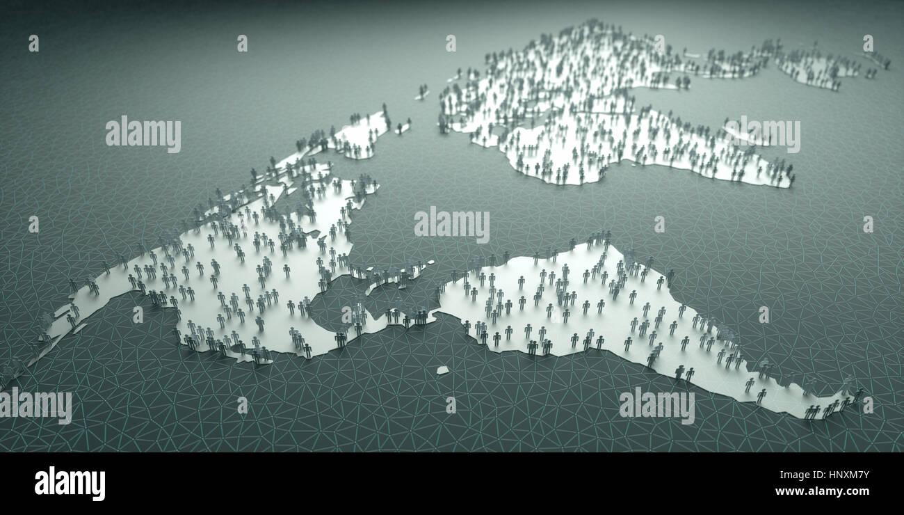 El papel de personas de todo el mundo, el concepto de población, demografía, envejecimiento, migraciones, Imagen De Stock