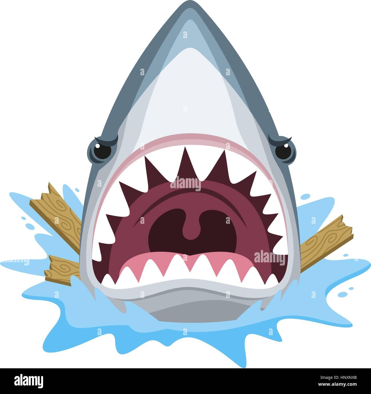 Shark Attack Muelas Loco Furioso Ilustración Vectorial De