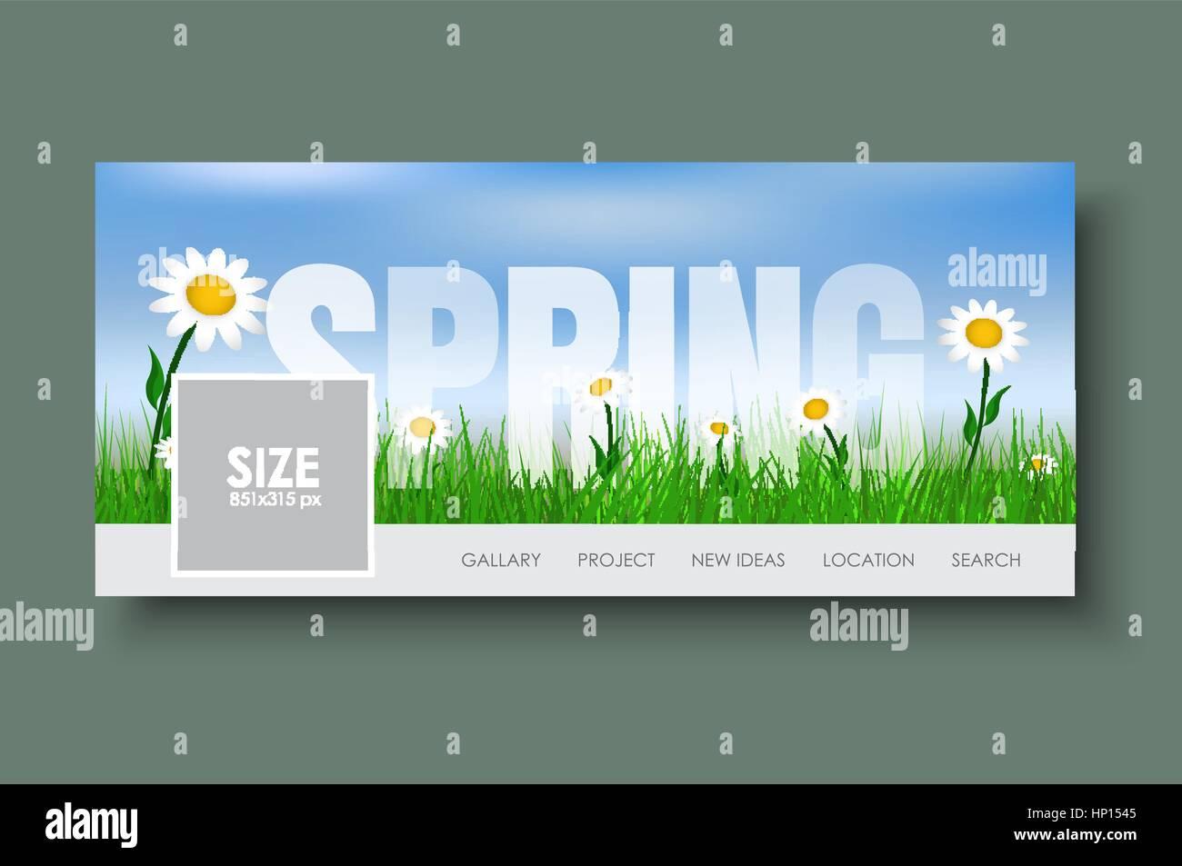 Diseño Web banners con paisaje primaveral. Plantilla con hierba ...
