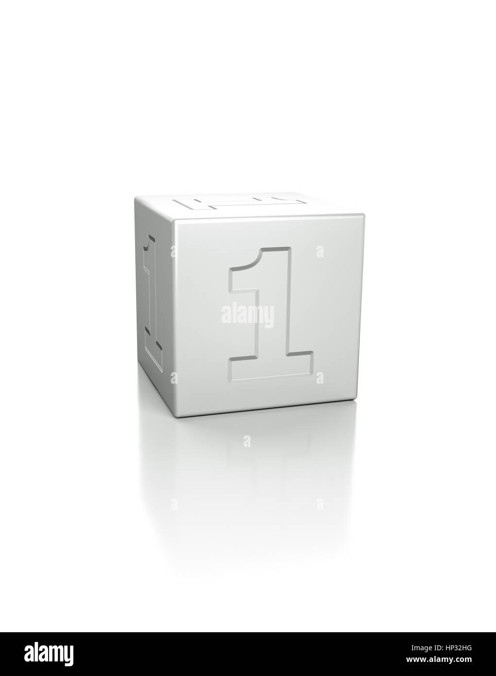 Cubo con el número 1 en relieve. Imagen De Stock