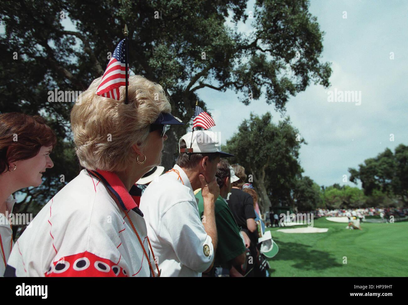 AMERICAN GOLF ESPECTADORES RYDER CUP VALDERRAMA España 28 de septiembre de 1997 Foto de stock