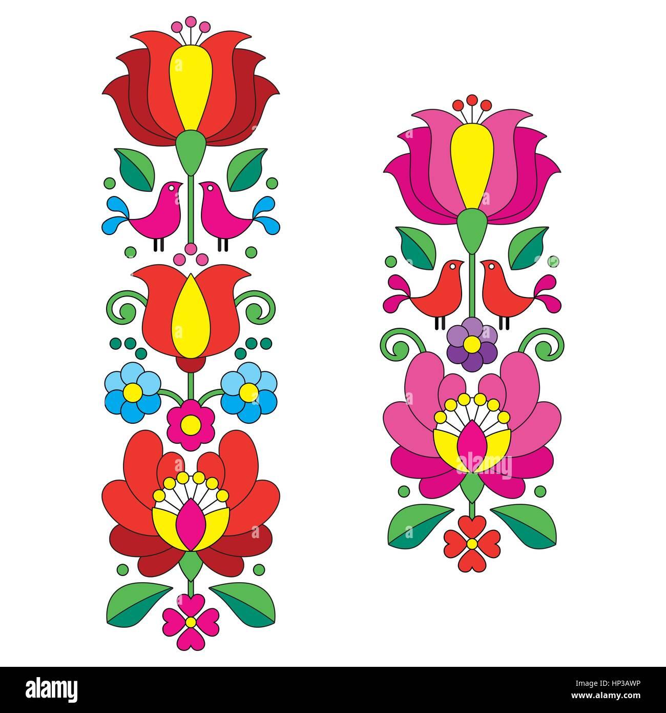 Seamless Kalocsai bordado floral Húngaro - patrón de arte folk ...