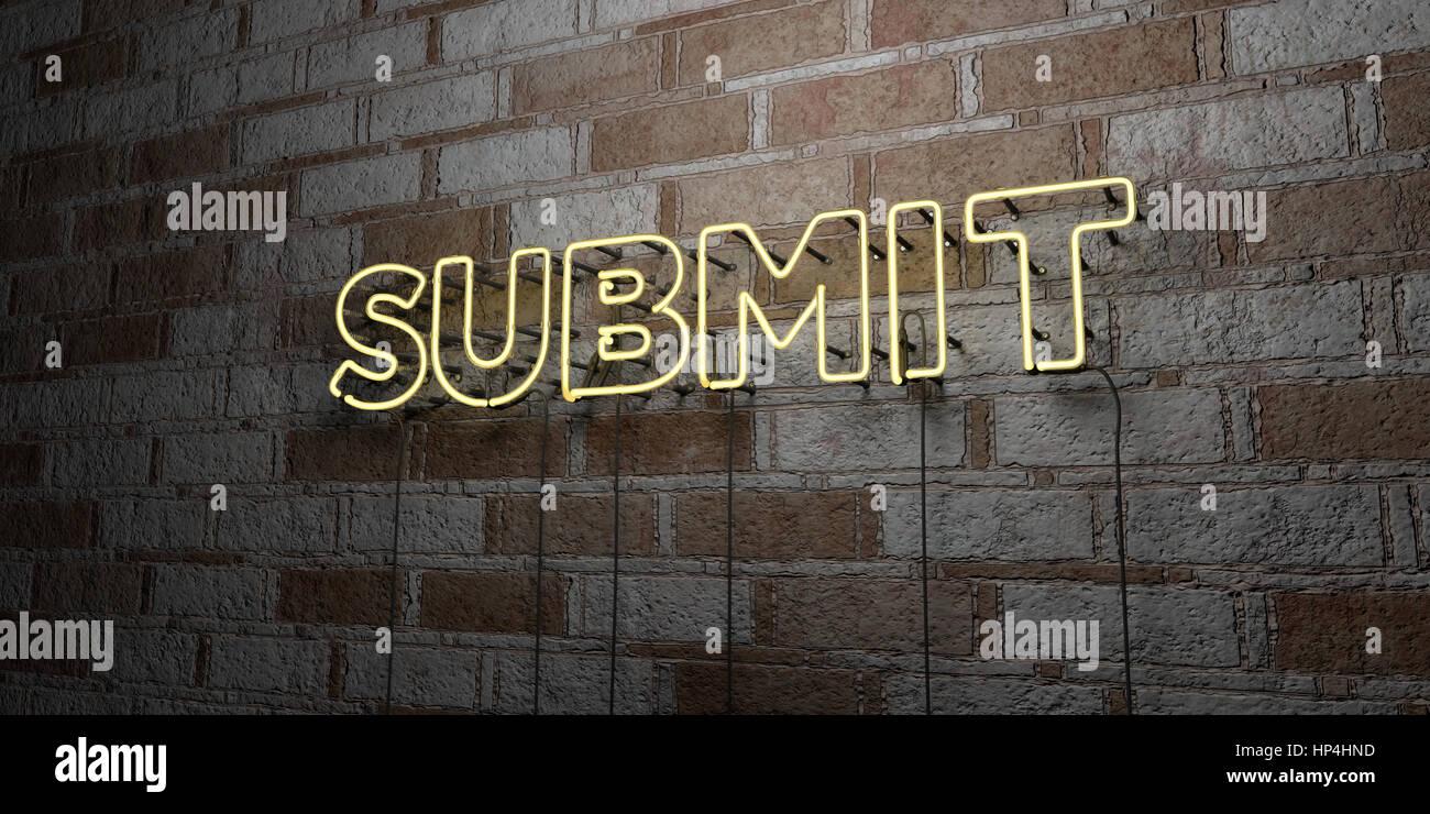 Enviar - cartel de neón brillante en la pared de mampostería - 3D prestados royalty free ilustración. Imagen De Stock