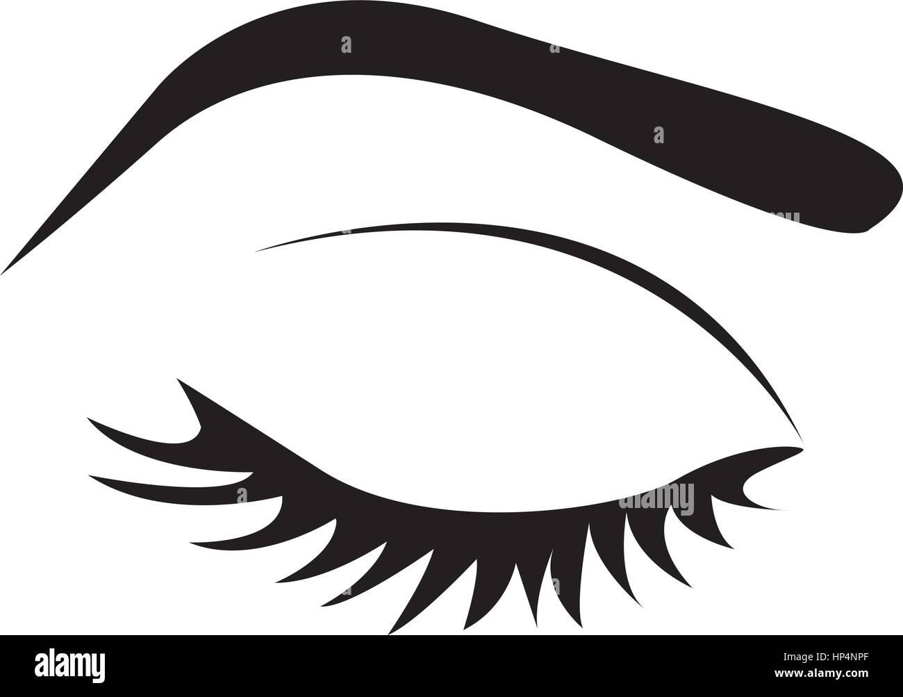 Silueta De Color Con El Ojo Cerrado Y Cejas Femenino Ilustración Del